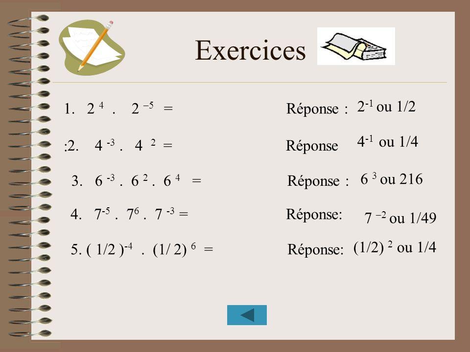 Exercices 1.2 4. 2 –5 = Réponse : : 2 -1 ou 1/2 4 -1 ou 1/4 2. 4 -3. 4 2 = Réponse 3. 6 -3. 6 2. 6 4 = Réponse : 4. 7 -5. 7 6. 7 -3 = Réponse: 5. ( 1/
