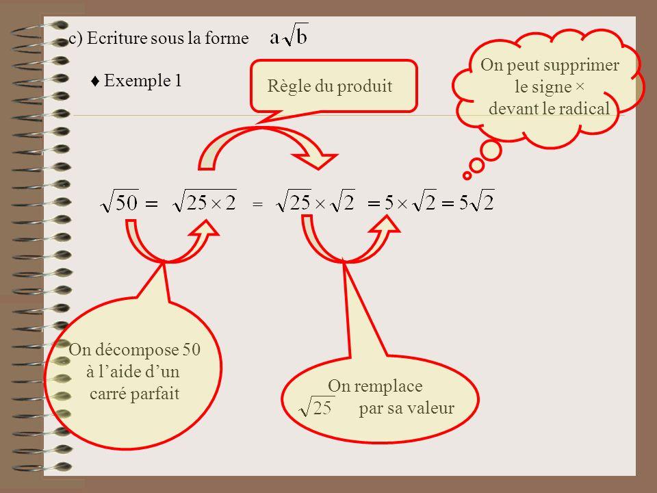 Exemple 2 = == Il est préférable décrire le carré parfait en premier Exemple 3 Exemple 3