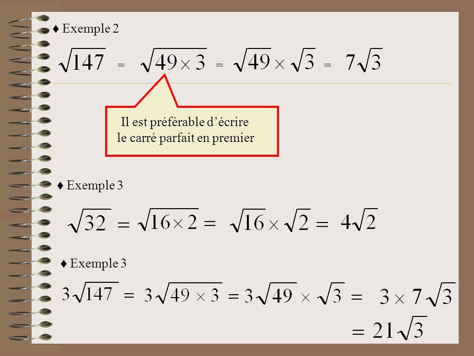 = = = = = = = = = = Facteur ``carrées parfait`` et autre facteur Garde ta réponse sous forme de radical