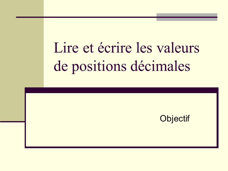 Lire et écrire les valeurs de positions décimales Objectif