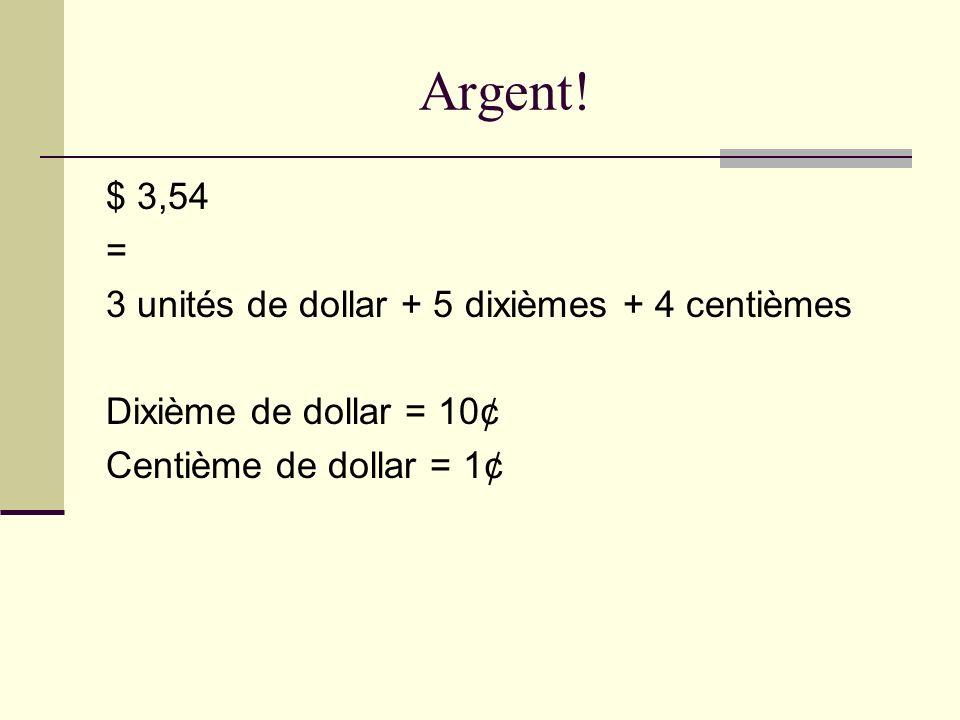 Argent! $ 3,54 = 3 unités de dollar + 5 dixièmes + 4 centièmes Dixième de dollar = 10¢ Centième de dollar = 1¢