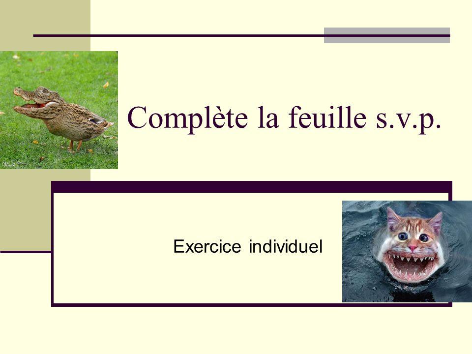 Complète la feuille s.v.p. Exercice individuel