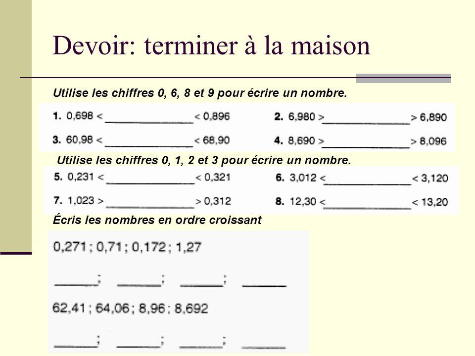 Devoir: terminer à la maison Utilise les chiffres 0, 6, 8 et 9 pour écrire un nombre. Utilise les chiffres 0, 1, 2 et 3 pour écrire un nombre. Écris l