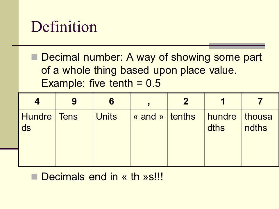 Créons quelques nombres décimaux: 1.Équipes de 2 (ou 3) 2.