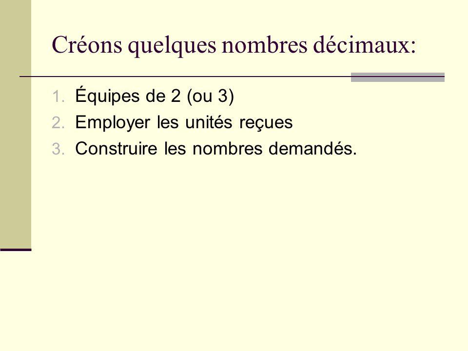 Créons quelques nombres décimaux: 1. Équipes de 2 (ou 3) 2. Employer les unités reçues 3. Construire les nombres demandés.