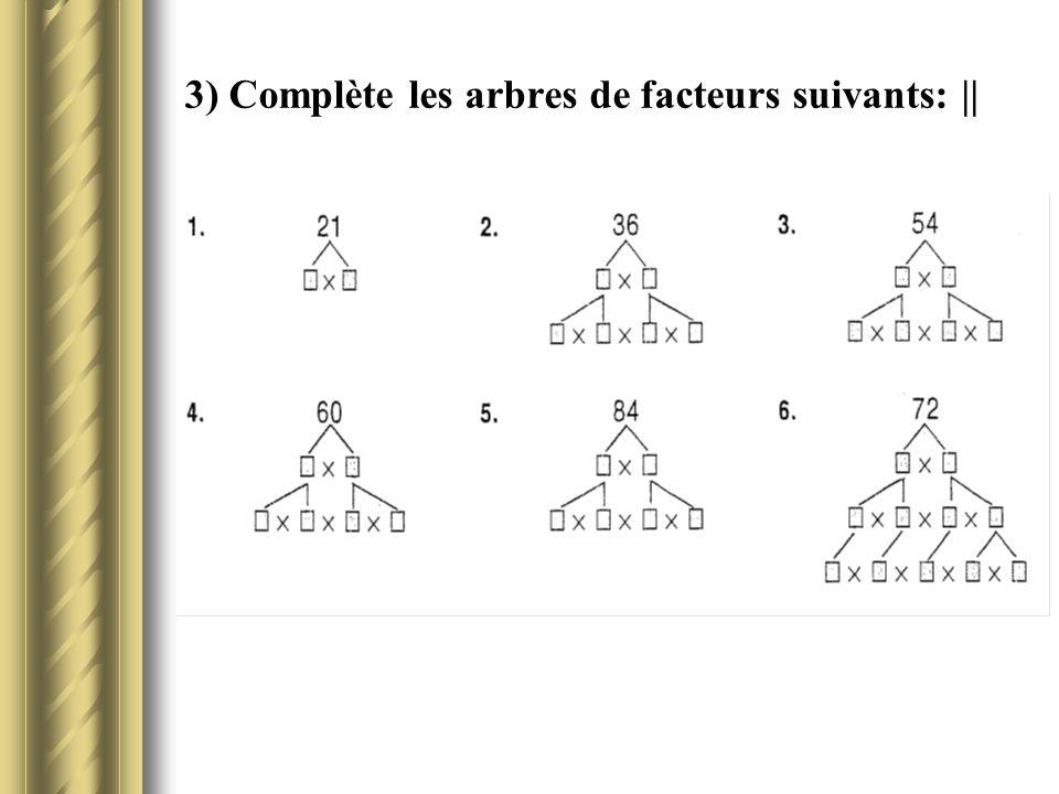3) Complète les arbres de facteurs suivants:   