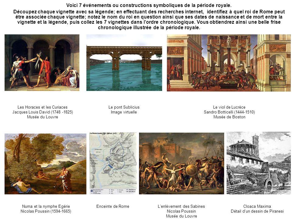Voici 7 événements ou constructions symboliques de la période royale. Découpez chaque vignette avec sa légende; en effectuant des recherches internet,