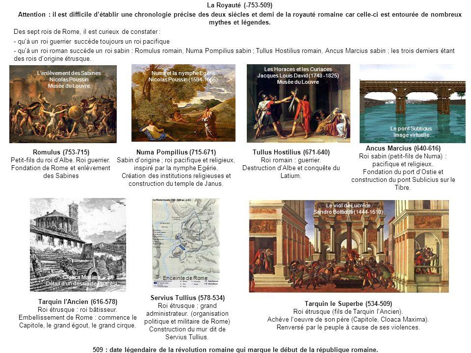 La Royauté (-753-509) Attention : il est difficile détablir une chronologie précise des deux siècles et demi de la royauté romaine car celle-ci est en