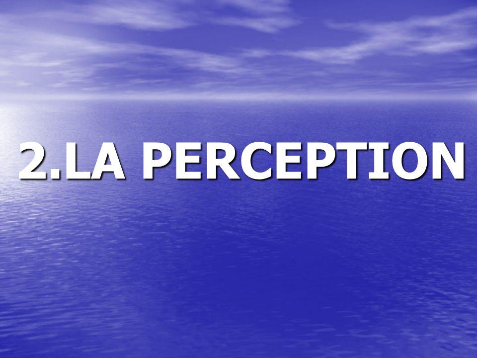 LA PERCEPTION Cest la signification que lon donne aux stimuli reçus au moyen des cinq sens