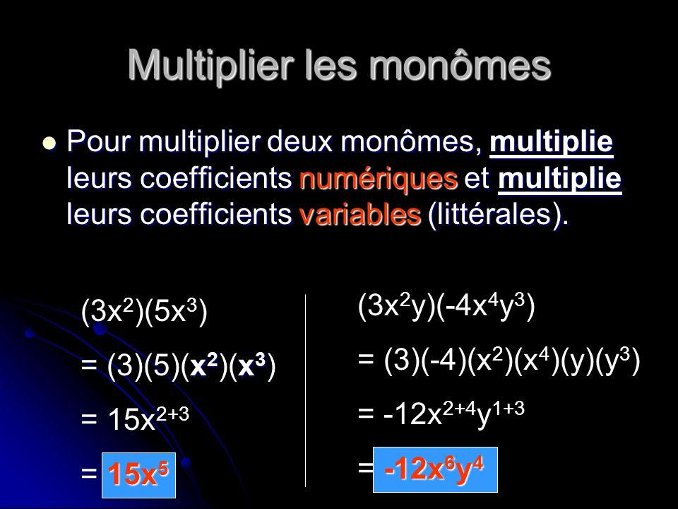 Multiplier les monômes Pour multiplier deux monômes, multiplie leurs coefficients numériques et multiplie leurs coefficients variables (littérales). P