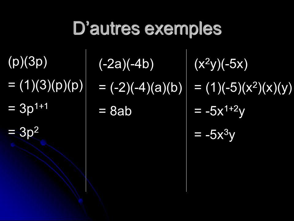 Dautres exemples (p)(3p) = (1)(3)(p)(p) = 3p 1+1 = 3p 2 (-2a)(-4b) = (-2)(-4)(a)(b) = 8ab (x 2 y)(-5x) = (1)(-5)(x 2 )(x)(y) = -5x 1+2 y = -5x 3 y