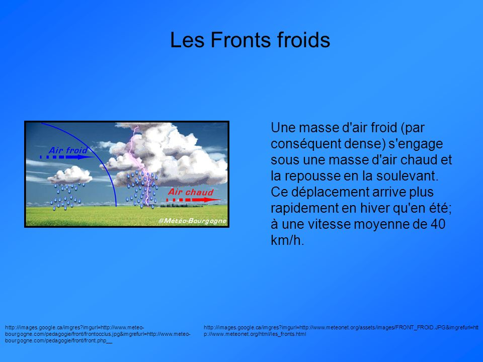 Les Fronts froids http://images.google.ca/imgres?imgurl=http://www.meteo- bourgogne.com/pedagogie/front/frontocclus.jpg&imgrefurl=http://www.meteo- bo