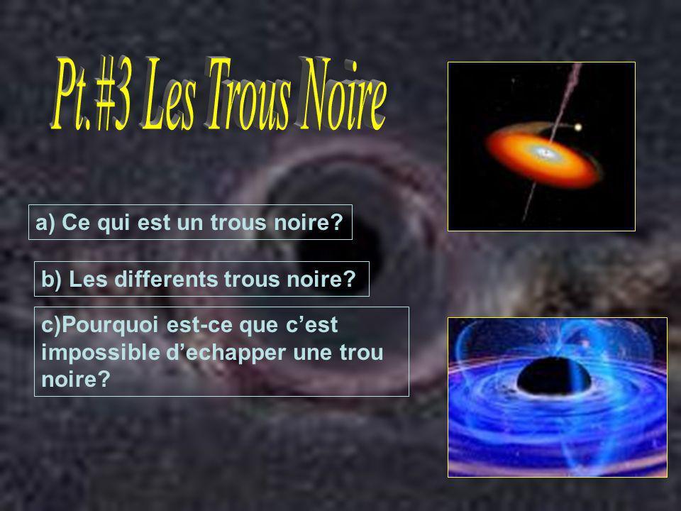 a) Ce qui est un trous noire? b) Les differents trous noire? c)Pourquoi est-ce que cest impossible dechapper une trou noire?