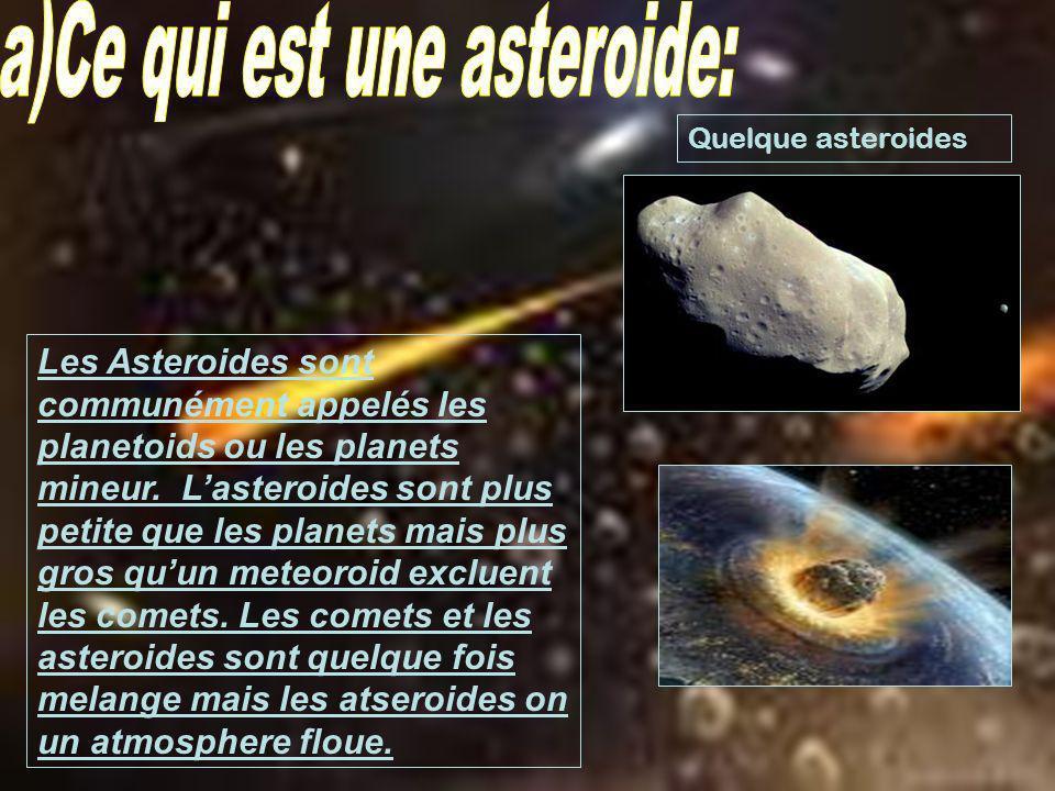 Les Asteroides sont communément appelés les planetoids ou les planets mineur. Lasteroides sont plus petite que les planets mais plus gros quun meteoro