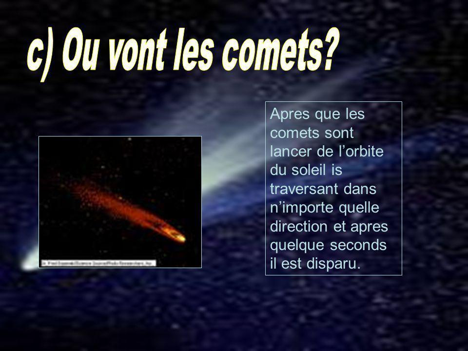 Apres que les comets sont lancer de lorbite du soleil is traversant dans nimporte quelle direction et apres quelque seconds il est disparu.