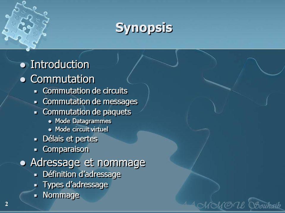 2 Synopsis Introduction Commutation Commutation de circuits Commutation de messages Commutation de paquets Mode Datagrammes Mode circuit virtuel Délai
