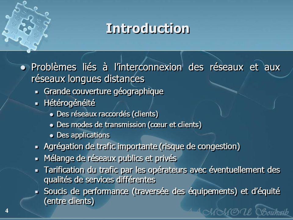 4 Introduction Problèmes liés à linterconnexion des réseaux et aux réseaux longues distances Grande couverture géographique Hétérogénéité Des réseaux