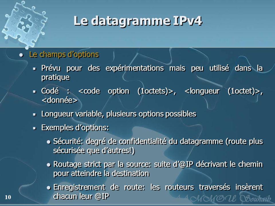10 Le datagramme IPv4 Le champs doptions Prévu pour des expérimentations mais peu utilisé dans la pratique Codé :,, Longueur variable, plusieurs optio