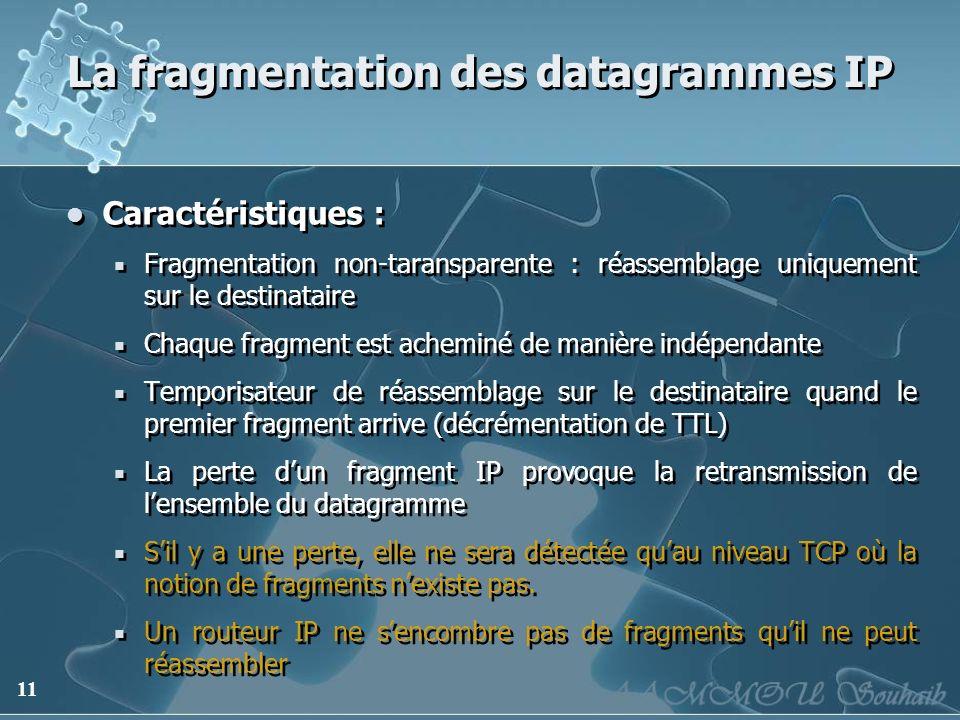11 La fragmentation des datagrammes IP Caractéristiques : Fragmentation non-taransparente : réassemblage uniquement sur le destinataire Chaque fragmen