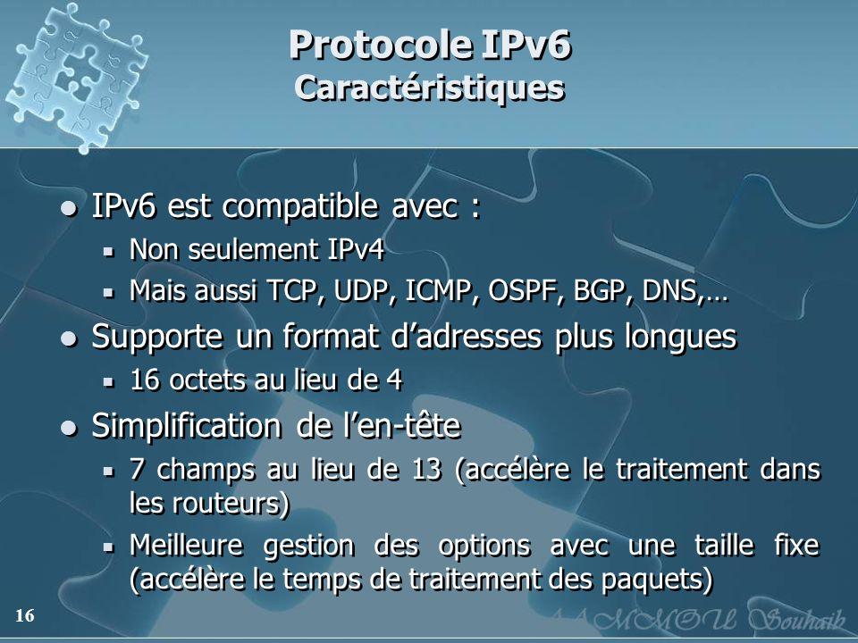 16 Protocole IPv6 Caractéristiques IPv6 est compatible avec : Non seulement IPv4 Mais aussi TCP, UDP, ICMP, OSPF, BGP, DNS,… Supporte un format dadres