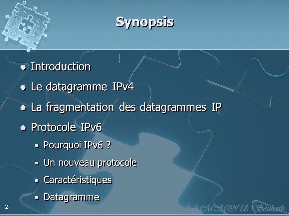 2 Synopsis Introduction Le datagramme IPv4 La fragmentation des datagrammes IP Protocole IPv6 Pourquoi IPv6 ? Un nouveau protocole Caractéristiques Da