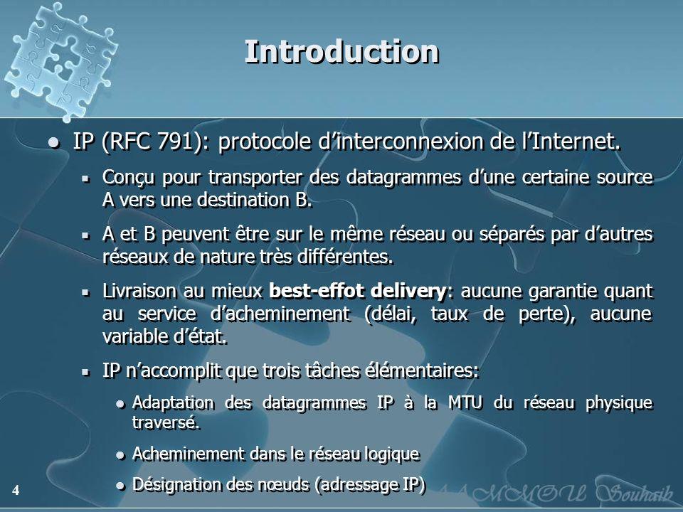 4 Introduction IP (RFC 791): protocole dinterconnexion de lInternet. Conçu pour transporter des datagrammes dune certaine source A vers une destinatio