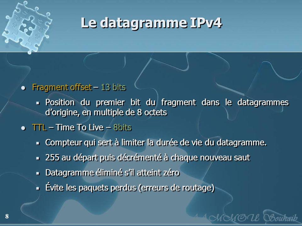 8 Le datagramme IPv4 Fragment offset – 13 bits Position du premier bit du fragment dans le datagrammes dorigine, en multiple de 8 octets TTL – Time To