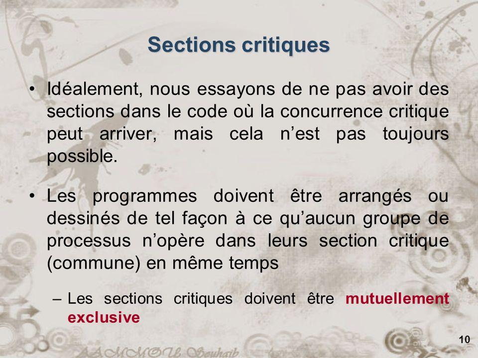 10 Sections critiques Idéalement, nous essayons de ne pas avoir des sections dans le code où la concurrence critique peut arriver, mais cela nest pas