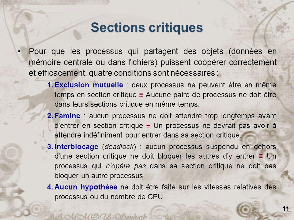 11 Sections critiques Pour que les processus qui partagent des objets (données en mémoire centrale ou dans fichiers) puissent coopérer correctement et