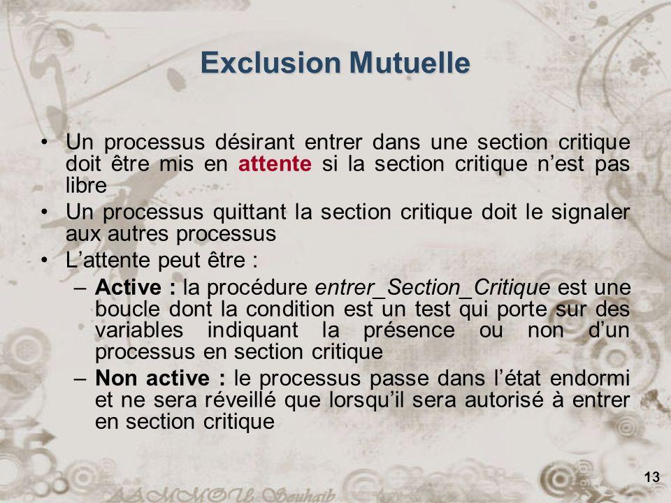 13 Exclusion Mutuelle Un processus désirant entrer dans une section critique doit être mis en attente si la section critique nest pas libre Un process