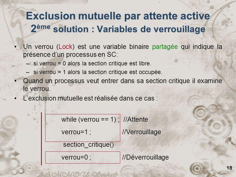 18 while (verrou == 1) ; //Attente verrou=1 ; //Verrouillage section_critique() verrou=0 ; //Déverrouillage Exclusion mutuelle par attente active 2 èm