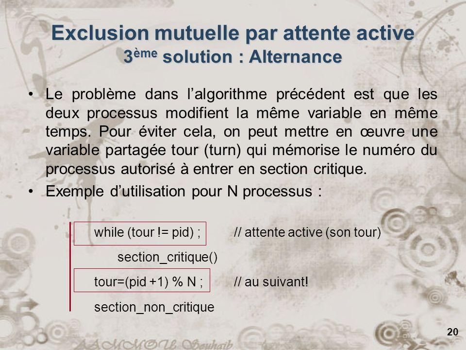 20 Exclusion mutuelle par attente active 3 ème solution : Alternance Le problème dans lalgorithme précédent est que les deux processus modifient la mê