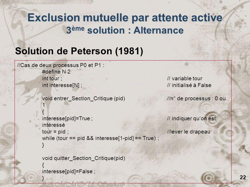 22 Exclusion mutuelle par attente active 3 ème solution : Alternance Solution de Peterson (1981) //Cas de deux processus P0 et P1 : #define N 2 int to
