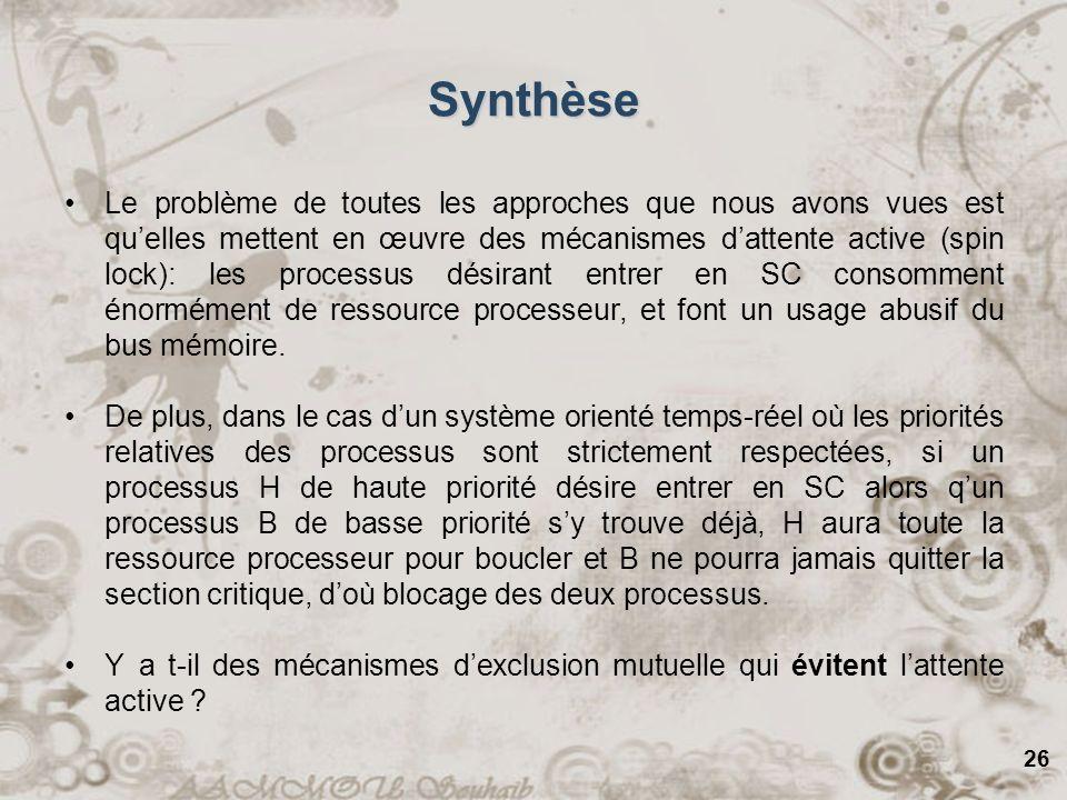 26 Synthèse Le problème de toutes les approches que nous avons vues est quelles mettent en œuvre des mécanismes dattente active (spin lock): les proce