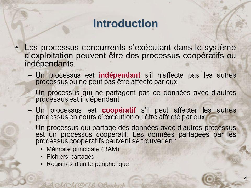 4 Introduction Les processus concurrents sexécutant dans le système dexploitation peuvent être des processus coopératifs ou indépendants. –Un processu