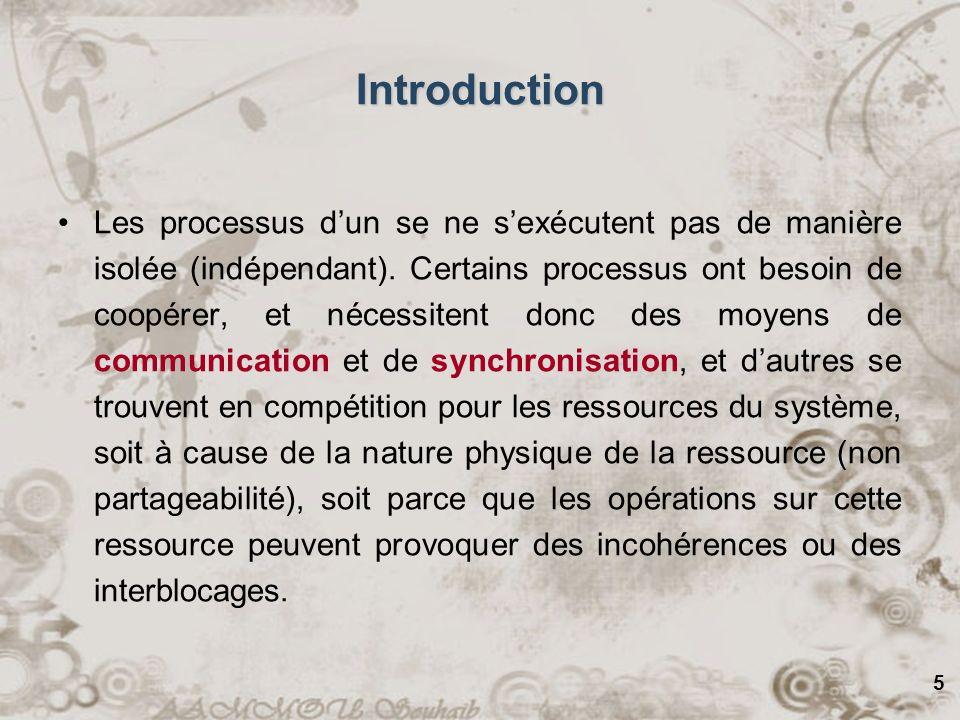 5 Introduction Les processus dun se ne sexécutent pas de manière isolée (indépendant). Certains processus ont besoin de coopérer, et nécessitent donc