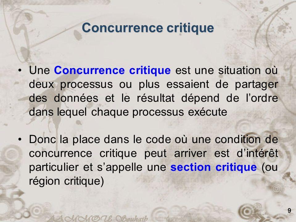 9 Concurrence critique Une Concurrence critique est une situation où deux processus ou plus essaient de partager des données et le résultat dépend de