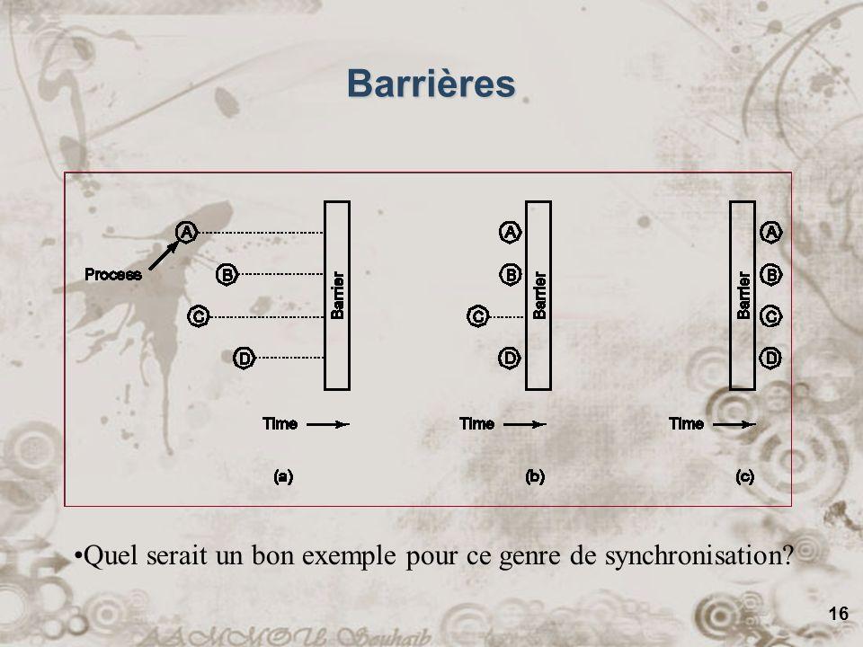 16 Barrières Quel serait un bon exemple pour ce genre de synchronisation