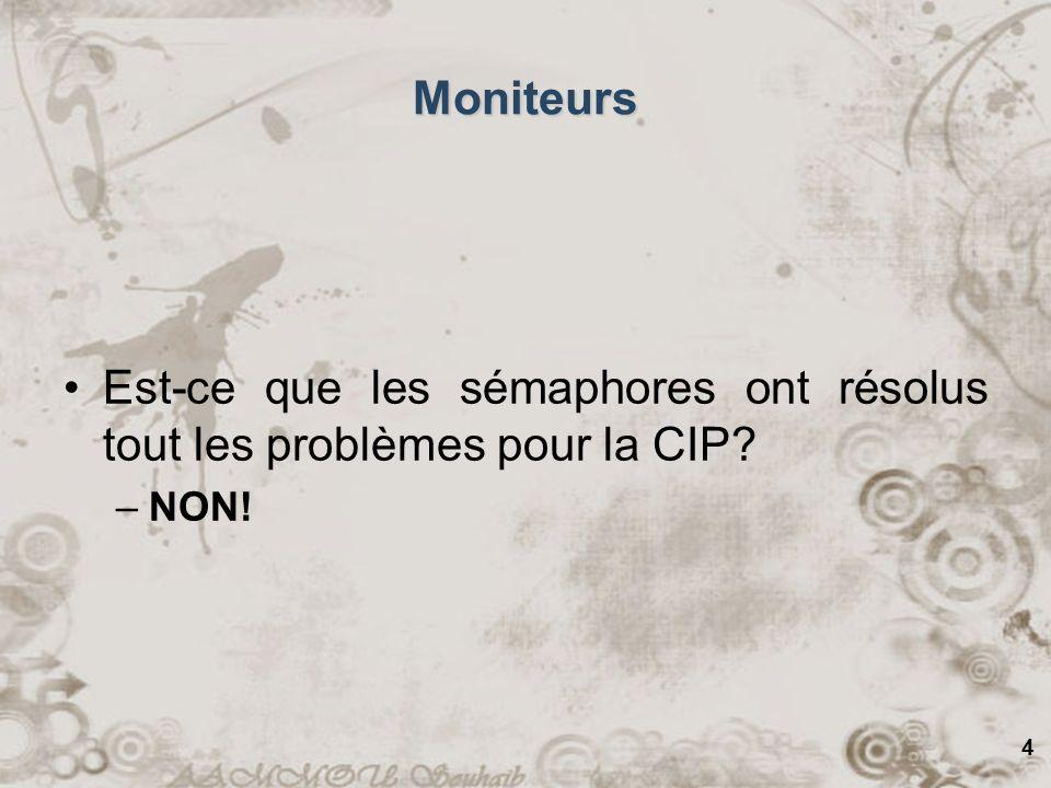4 Moniteurs Est-ce que les sémaphores ont résolus tout les problèmes pour la CIP –NON!
