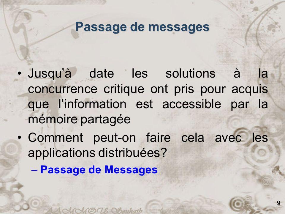 9 Passage de messages Jusquà date les solutions à la concurrence critique ont pris pour acquis que linformation est accessible par la mémoire partagée Comment peut-on faire cela avec les applications distribuées.