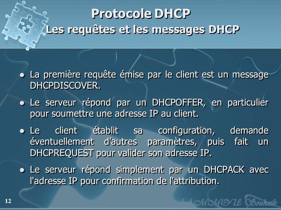 12 Protocole DHCP Les requêtes et les messages DHCP La première requête émise par le client est un message DHCPDISCOVER. Le serveur répond par un DHCP