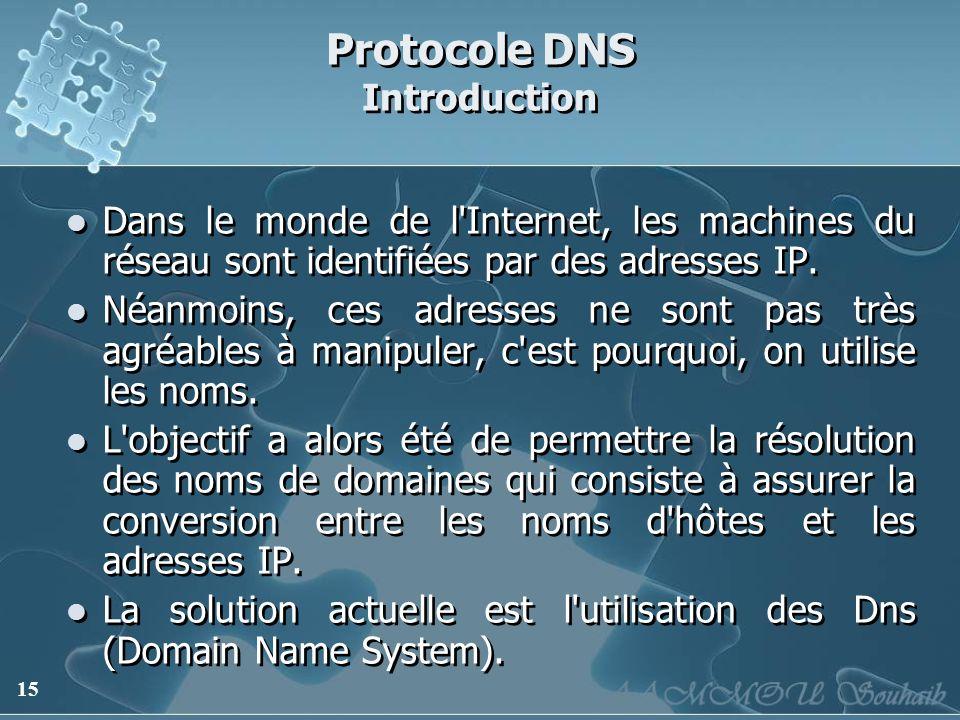 15 Protocole DNS Introduction Dans le monde de l'Internet, les machines du réseau sont identifiées par des adresses IP. Néanmoins, ces adresses ne son