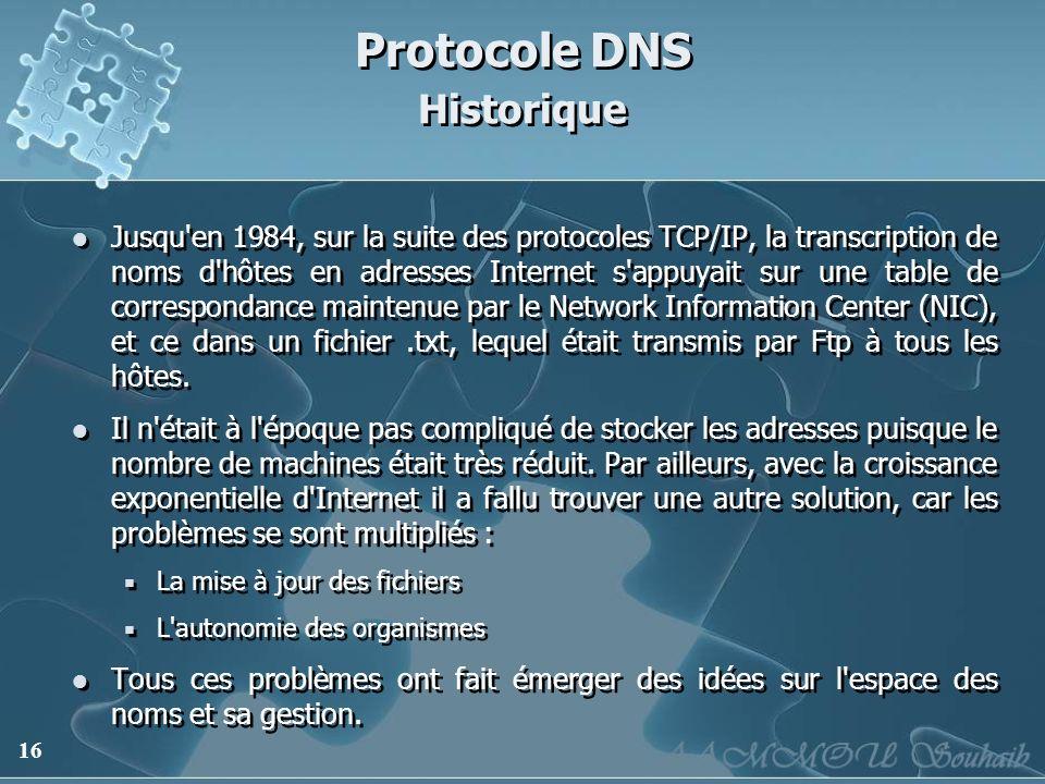 16 Protocole DNS Historique Jusqu'en 1984, sur la suite des protocoles TCP/IP, la transcription de noms d'hôtes en adresses Internet s'appuyait sur un