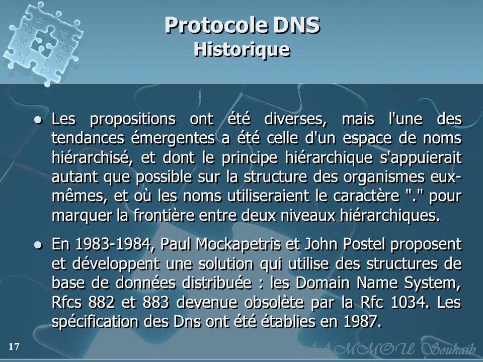 17 Protocole DNS Historique Les propositions ont été diverses, mais l'une des tendances émergentes a été celle d'un espace de noms hiérarchisé, et don
