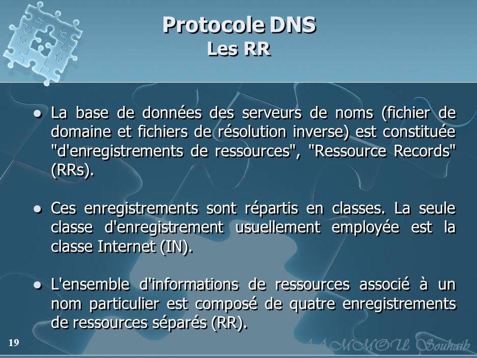 19 Protocole DNS Les RR La base de données des serveurs de noms (fichier de domaine et fichiers de résolution inverse) est constituée