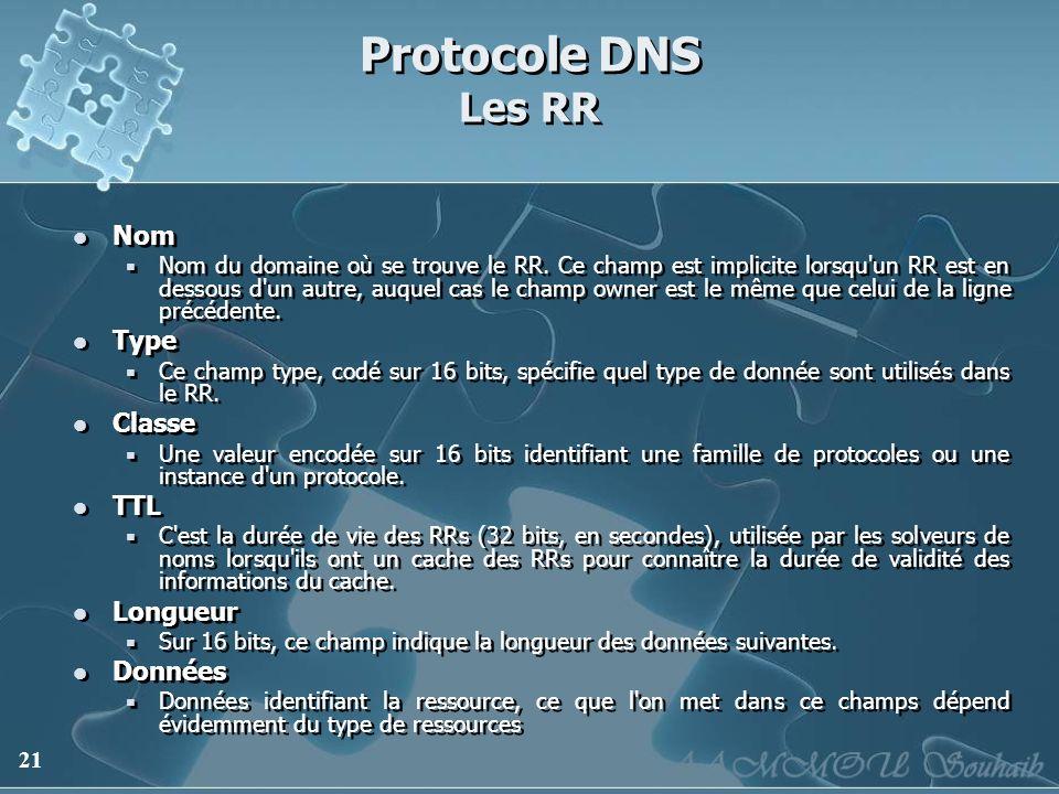 21 Protocole DNS Les RR Nom Nom du domaine où se trouve le RR. Ce champ est implicite lorsqu'un RR est en dessous d'un autre, auquel cas le champ owne
