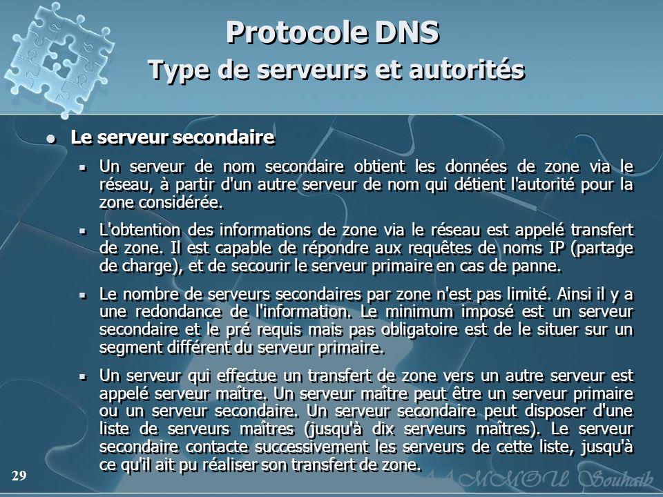 29 Protocole DNS Type de serveurs et autorités Le serveur secondaire Un serveur de nom secondaire obtient les données de zone via le réseau, à partir