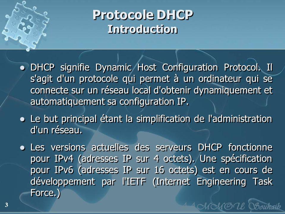 3 Protocole DHCP Introduction DHCP signifie Dynamic Host Configuration Protocol. Il s'agit d'un protocole qui permet à un ordinateur qui se connecte s