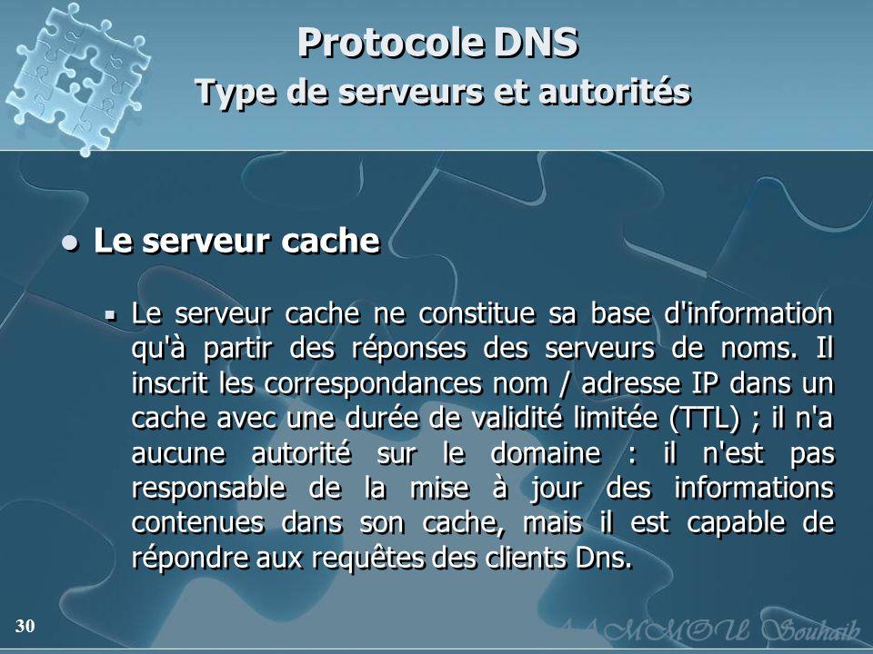 30 Protocole DNS Type de serveurs et autorités Le serveur cache Le serveur cache ne constitue sa base d'information qu'à partir des réponses des serve