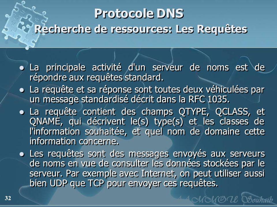 32 Protocole DNS Recherche de ressources: Les Requêtes La principale activité d'un serveur de noms est de répondre aux requêtes standard. La requête e